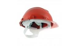 Каска ЮНОНА с пластиковым оголовьем красная