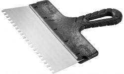 Шпатель строительный нержавеющий зубчатый (250 мм)
